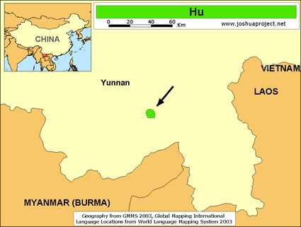 Hu in China map