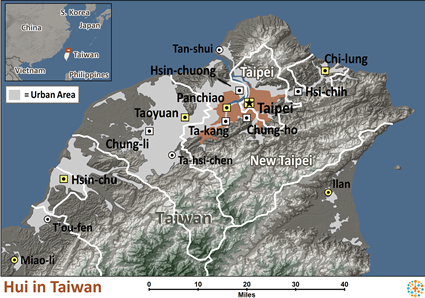 Hui in Taiwan map