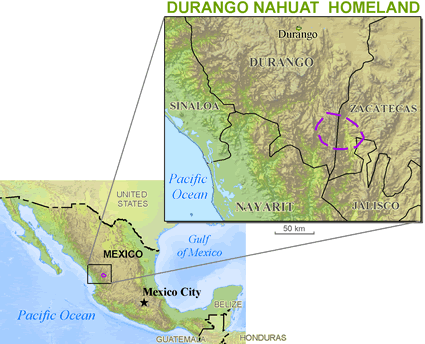 Nahuatl, Western Durango in Mexico map