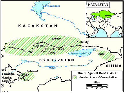 Dungan in Kazakhstan map