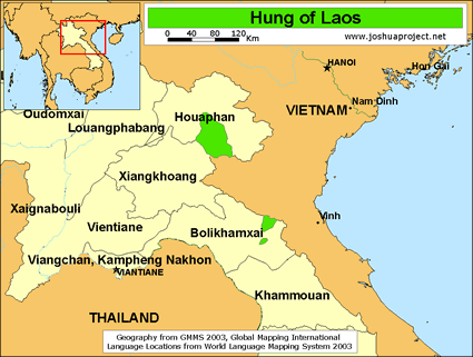 Hung in Laos map