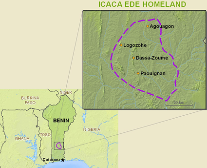 Idaca in Benin map