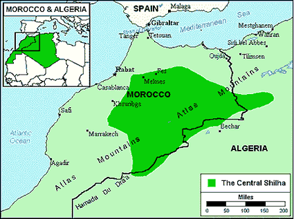 Berber, Imazighen in Algeria map
