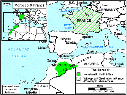 Berber, Imazighen in France map