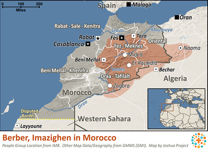 Berber, Imazighen in Morocco map