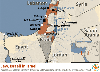 Jew, Israeli Sabra in Israel map