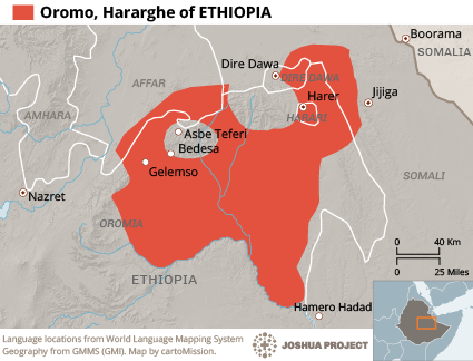 Oromo, Hararghe in Ethiopia map