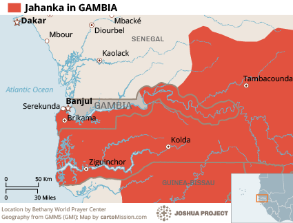 Jahanka in Gambia map