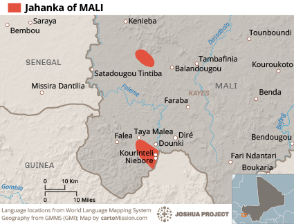 Jahanka in Mali map