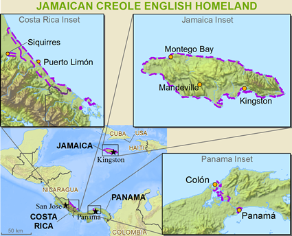 Jamaicans in Honduras map