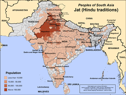 Jat (Hindu traditions) in Nepal map