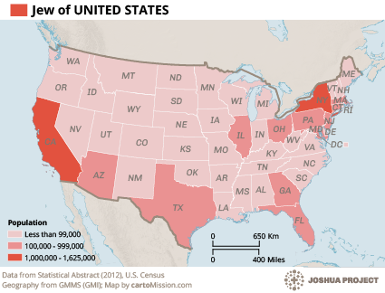 Jew, English Speaking in United States map