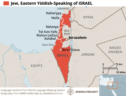 Jew, Eastern Yiddish-Speaking in Israel map