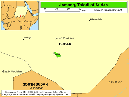 Jomang, Talodi in Sudan map