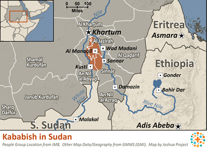 Kababish in Sudan map
