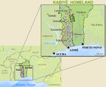 Kabiye in Benin map