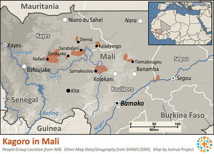 Kagoro in Mali map