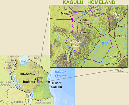 Kagulu, Northern Sagara in Tanzania map