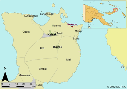 Kairak in Papua New Guinea map