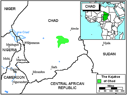 Kajakse in Chad map