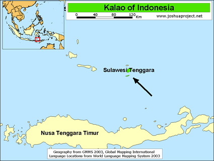 Kalao in Indonesia map