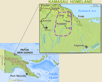 Kamasau, Wand Tan in Papua New Guinea map