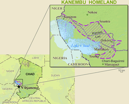 Kanembu in Nigeria map