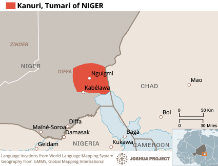 Kanuri, Tumari in Niger map