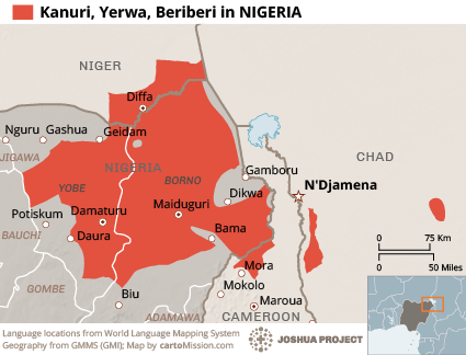 Kanuri, Yerwa in Nigeria map