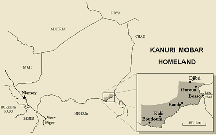 Kanuri, Yerwa in Sudan map