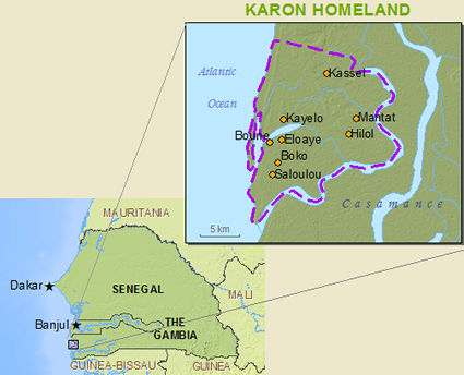 Jola-Karon in Gambia map