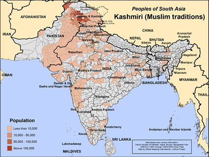 Kashmiri (Muslim traditions) in India map
