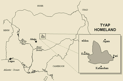 Katab in Nigeria map