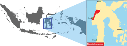 Mamuju in Indonesia map