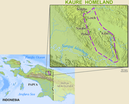 Kaure in Indonesia map