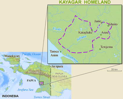 Kayagar in Indonesia map