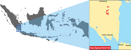 Kayu Agung in Indonesia map