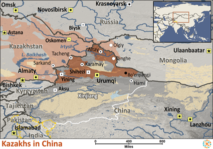 Kazakh in China map