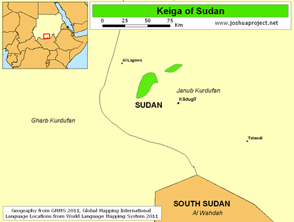 Keiga in Sudan map