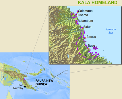 Kela in Papua New Guinea map