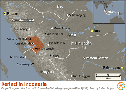 Kerinci in Indonesia map