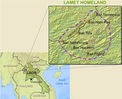 Lamet in Laos map
