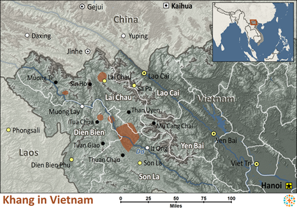 Khang in Vietnam map