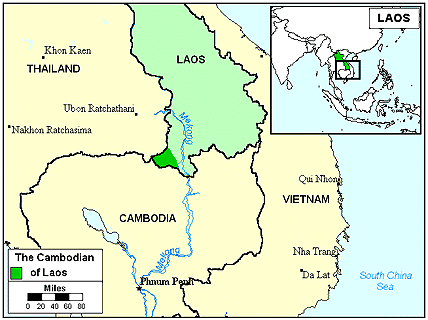 Khmer in Laos map