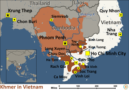 Khmer in Vietnam map