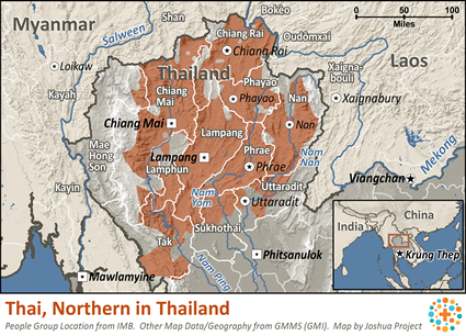 Thai, Northern in Thailand map