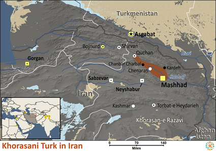 Khorasani Turk in Iran map