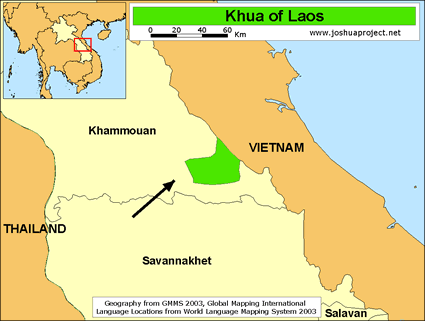 Khua in Laos map