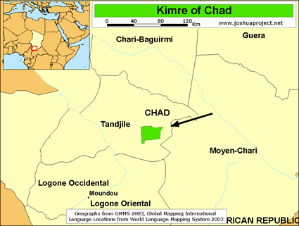 Kimre in Chad map