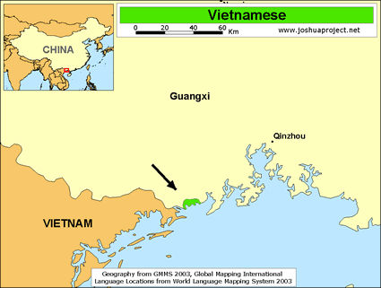 Jing, Vietnamese in China map